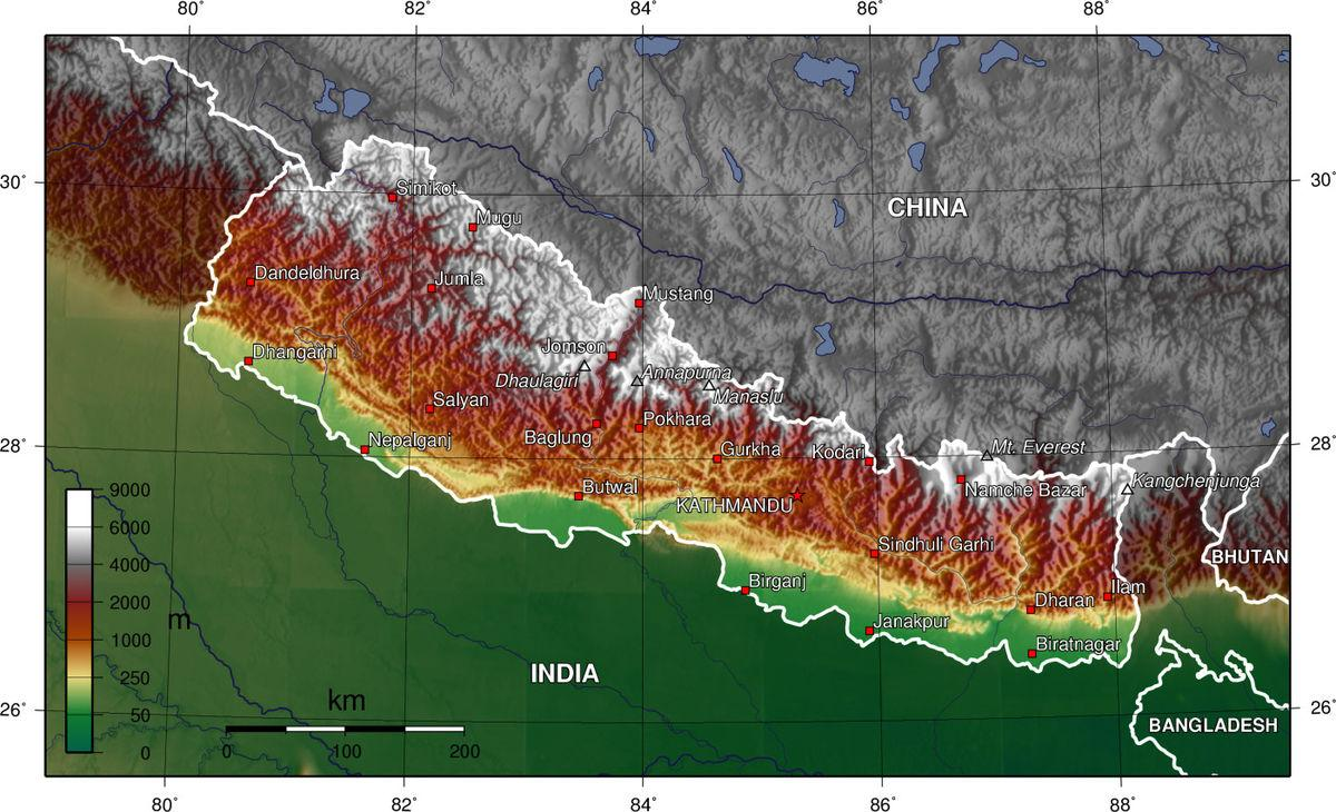 Nepal Altitude Map Nepal Elevation Map Southern Asia Asia