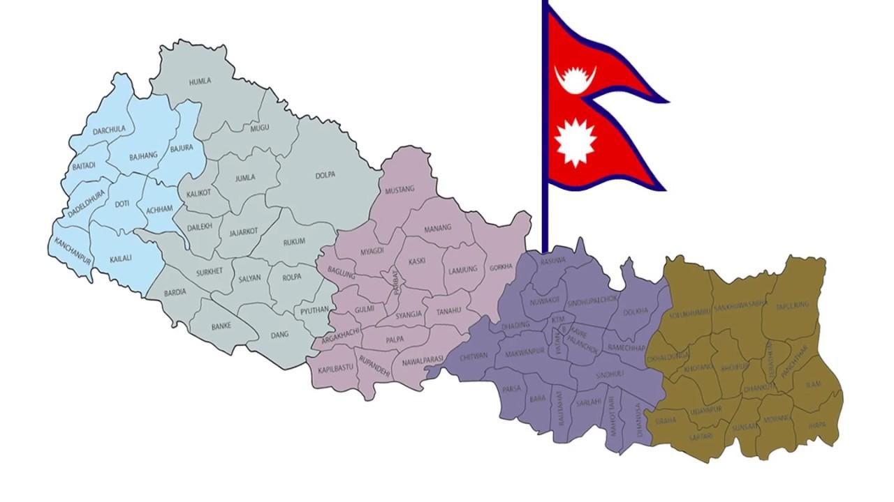 Nepal map with flag - Map of nepal with flag (Southern Asia - Asia)
