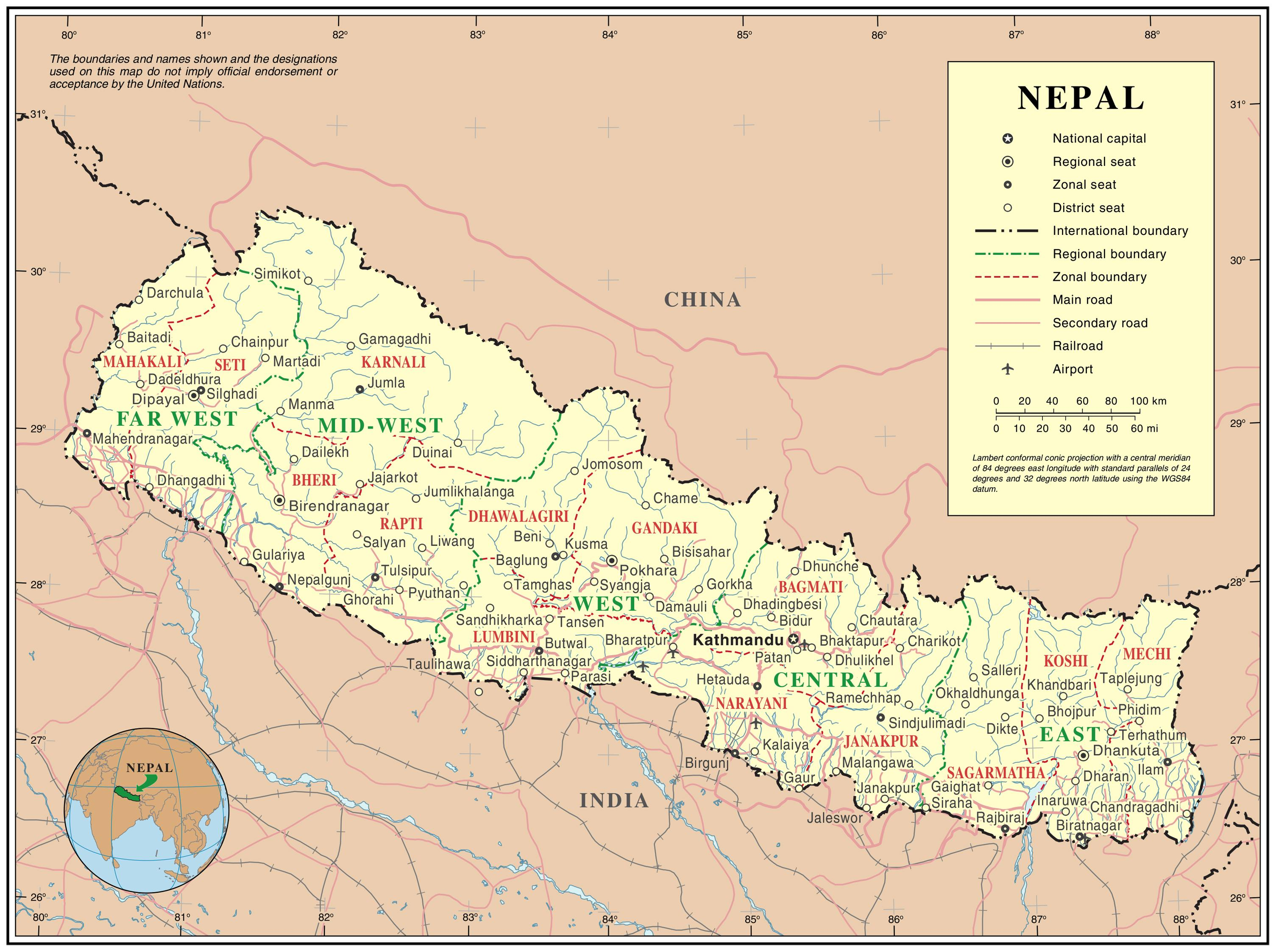 Nepal Roads Map India Nepal Border Road Map Southern Asia Asia
