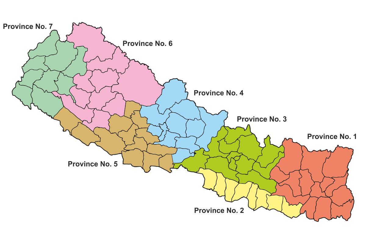 Nepal states map - State map of nepal (Southern Asia - Asia)