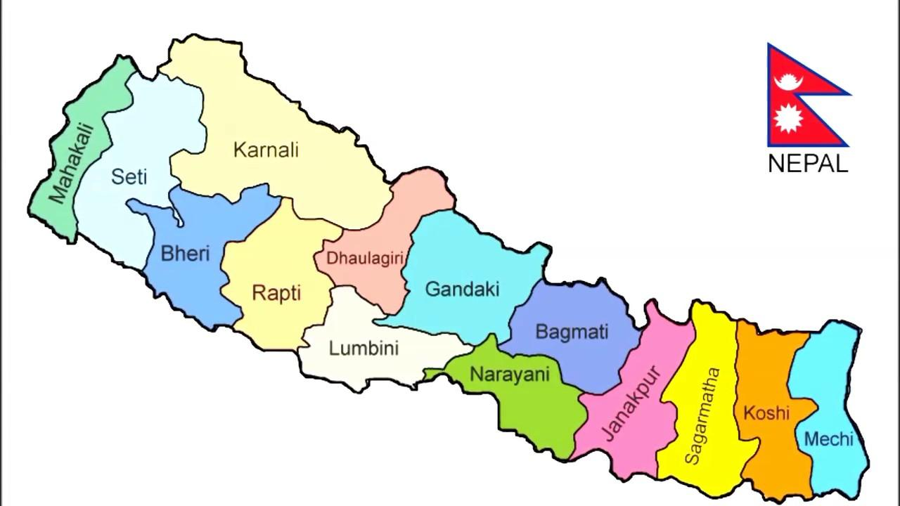 Nepali map - Nepal map new (Southern Asia - Asia)