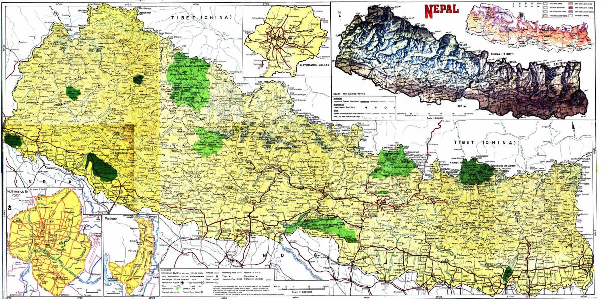 road map of nepal with distance