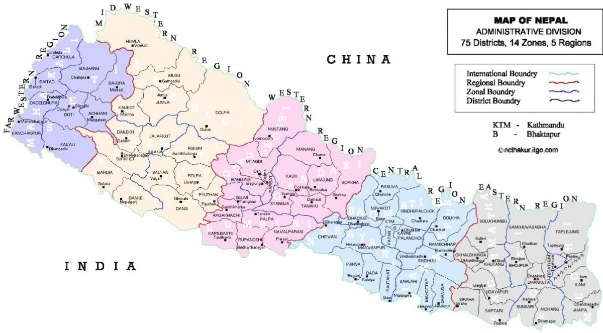 nepal political map with districts